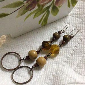 Brown Beaded Pierced Dangle Earrings